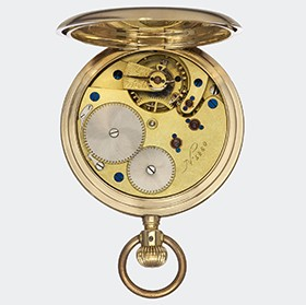 Elgin I 19''' calibre hunter movement, four screwed chatons, 15 jewels, blued screws (1884)